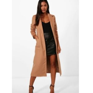 Boohoo Longline Button Wool Look Coat